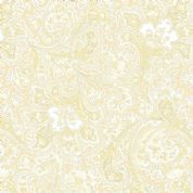 W108812 Extra Wide Cotton Fabric - Benartex Cream and White Floral Paisley